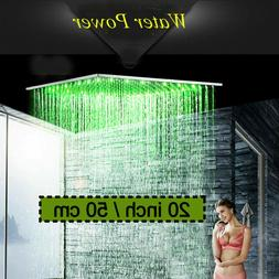 "Shower Head 24"" LED  Chrome Wall/Ceiling Mounted Square Rain"