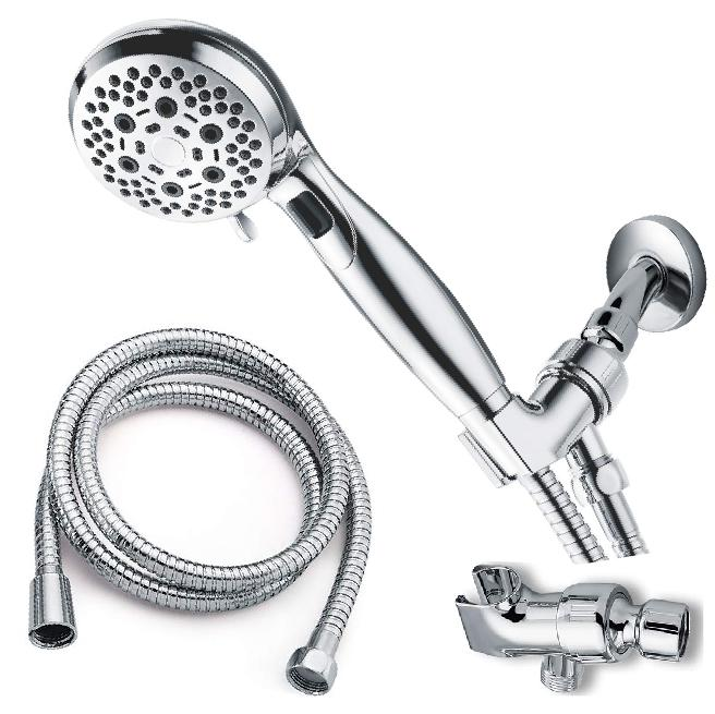 Hand Held Shower Head 6 Spray Settings w/ Hose Angle Adjusta