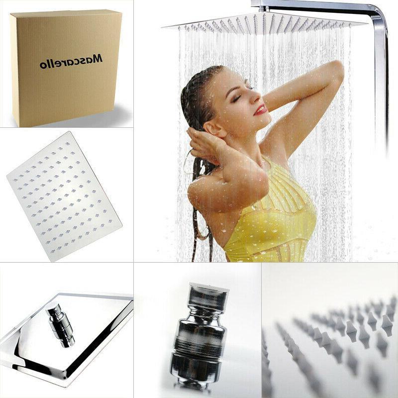 12 square stainless steel rain shower head
