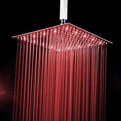 """10""""Ultra-thin LED Rainfall Shower Head Brushed Nickel Square"""