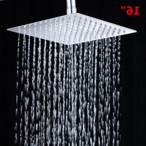 "16"" Square Big Stainless Steel Rain Shower Head Rainfall Bat"