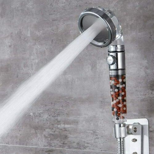 3 Mode High Pressure Shower Head Ionic Filtered Stone Stream Saving