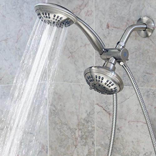 6 Function Dual Shower Head Combo - High Pressure, Fixed Showerheads & Diverter Removable Spray Heads - Nickel