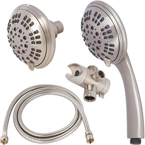 6 Function Dual Shower Head Combo - Pressure, Fixed With Hose & Diverter Removable Spray - Nickel