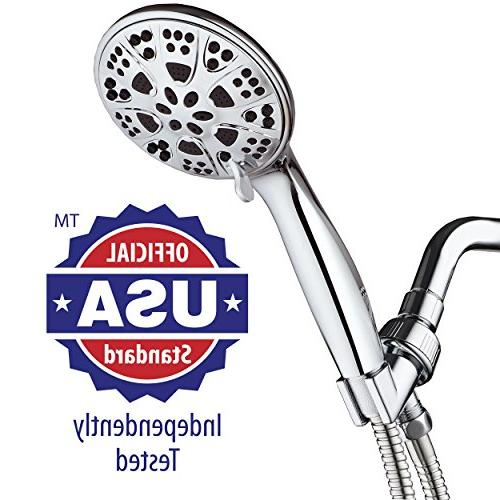 AquaDance 6-Setting All Pressure Hand Shower Head with Hose Shower Tested to US & Performance Standards!