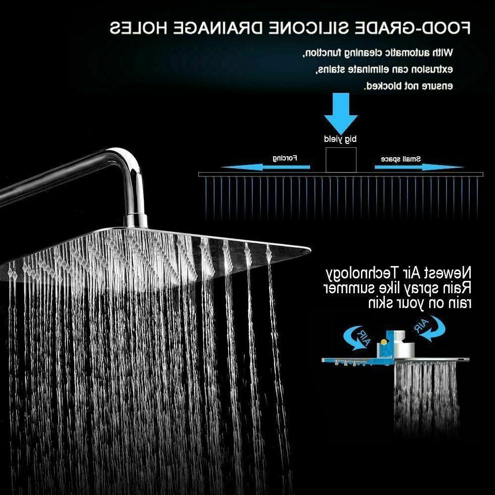 8 Inch Rain Shower Head Brushed Stainless Thin