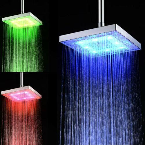 "8"" Square LED Light Rain Shower Color Temperature"