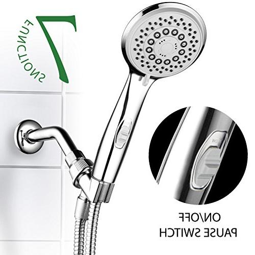 HotelSpa High-Pressure 7-Setting Handheld Shower Head Pause Easy Tool-Free Finish