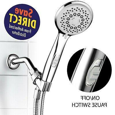 HotelSpa High-Pressure 7-Setting Handheld Shower Head with 4