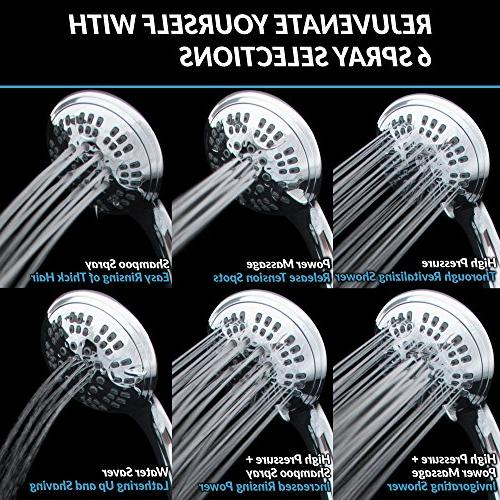 ShowerMaxx Series   Settings 4.5 inch Held   Extra Hose MAXX-imize Shower Easy-to-Remove Flow Restrictor Polished Finish