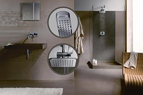 AMG Enchante Accessories - Manhattan Rainfall Set with Modern Design, Chrome Finish Water and