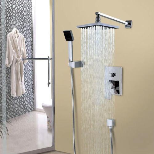 Wall Mount Rain Shower Faucet Set Hand Shower Sprayer Mixer