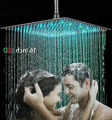 16-Inch Square LED Rainfall Shower Head Brushed Nickel Top S