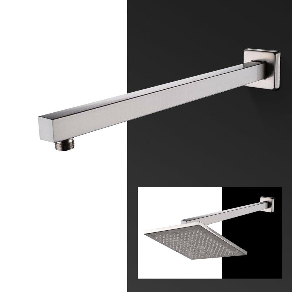 Brushed Nickel Straight Wall-Mounted Bathroom Shower head 14