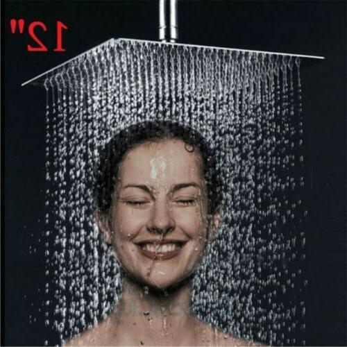 Chrome 12 inch Square High Pressure Rainfall Top Shower Head