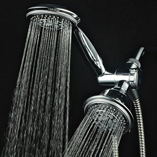 "Hydroluxe & Rain High Pressure 24 Function 4"" Dual in Shower Hose, 3-way Diverter,"