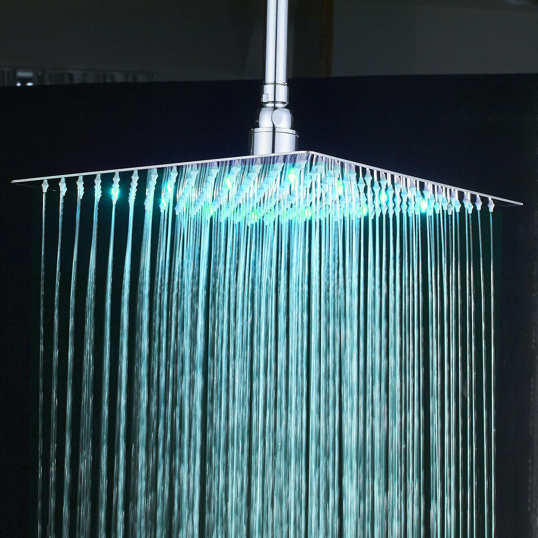 Brushed 8 LED Shower Square Top