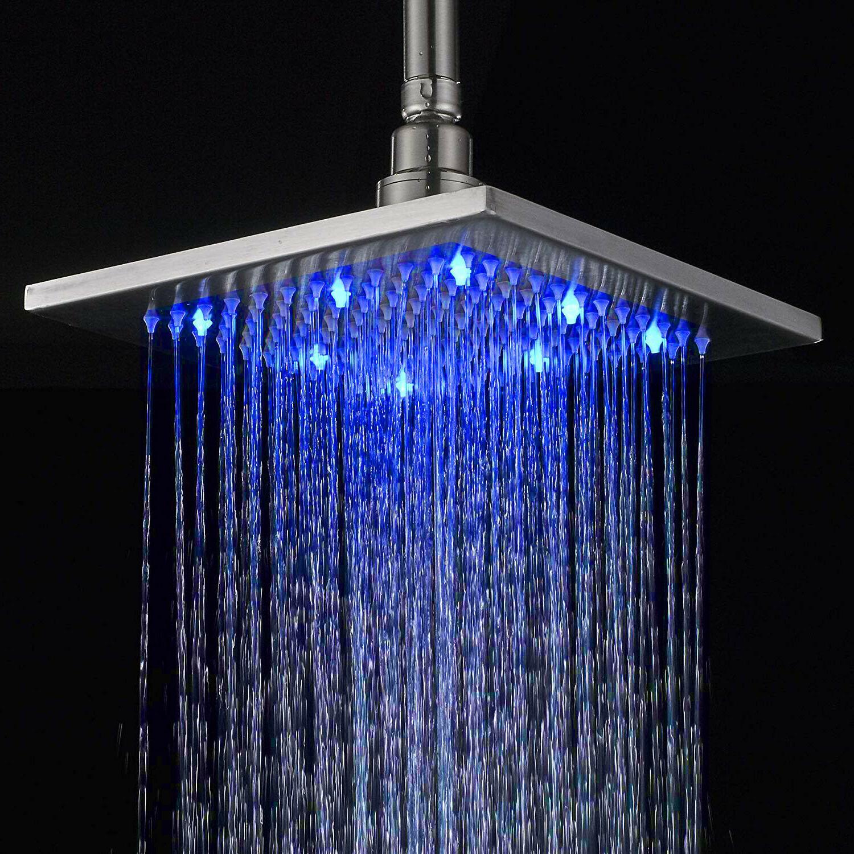 Brushed 8 LED Shower Square Sprayer