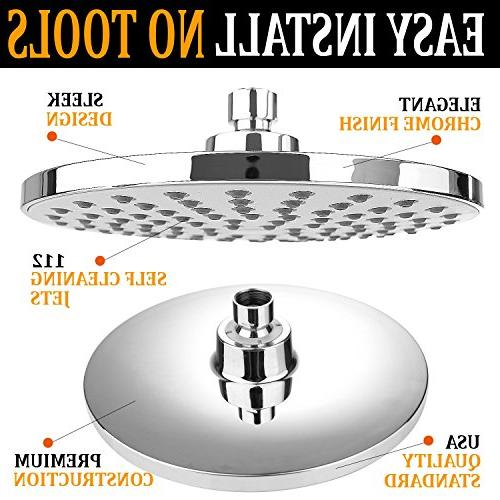 RongMax Head Kit - inch Luxury Head 13.5 inch Adjustable Arm and Pressure Showerhead with Water Restrictor