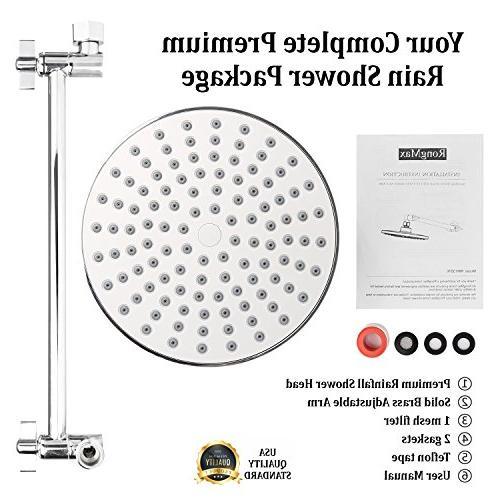 RongMax Rain Head Kit inch Luxury Head Adjustable and Pressure Showerhead