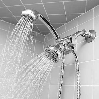 Deluxe 5-function Dual Shower Head and Massager Silver