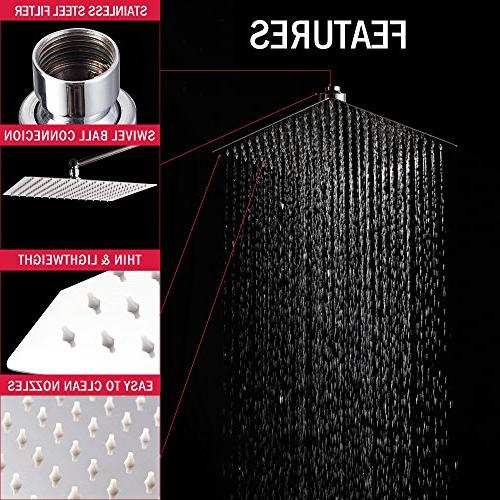 LORDEAR Ultra Steel 12 Adjustable Rain Shower Head Polish Coverage with Nozzle Easy Clean