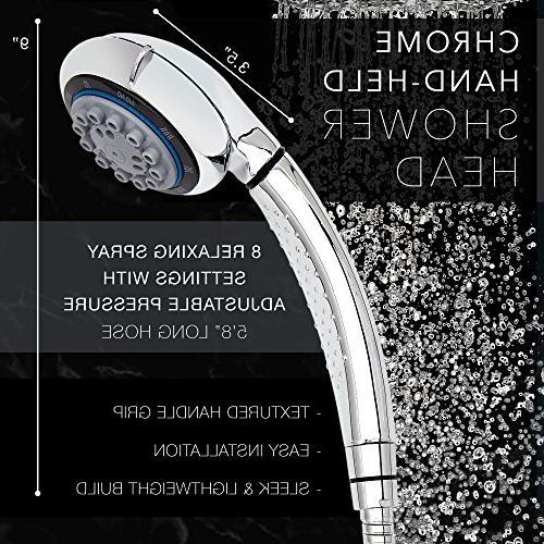 Handheld 8 Lavish Spray Water Shower Arm and Sealant
