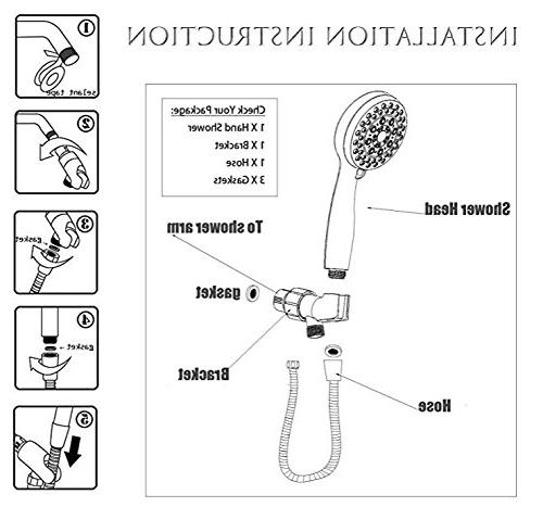 Handheld Shower with 8 Spray Settings from Power Water Shower Arm and Tape