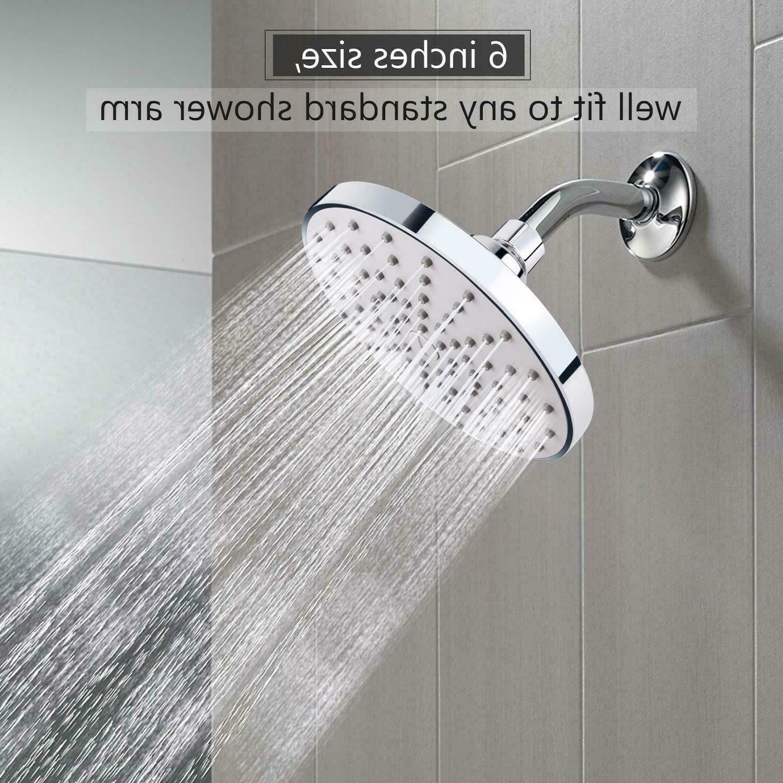 6 Inch Rainfall Fixed Shower Head Chrome Finish High Pressur