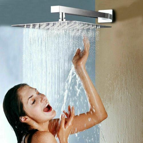 Large 12 Inch Square Stainless Steel Rain Shower Head Rainfa