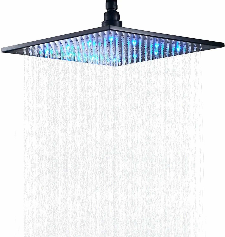 Bathroom LED Light 12-inch Square Rainfall Shower Head Overh