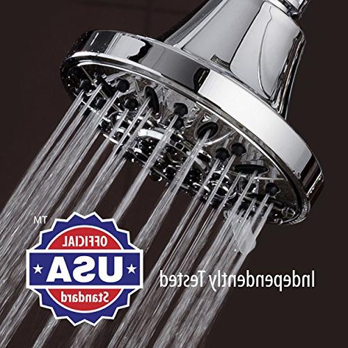 AquaDance Pressure 6-setting 4-Inch Shower for the Spa Experience! Tested to US & Performance Standards!