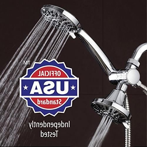 AquaDance High Pressure Twin Combo You Two 4-Inch 6-Setting Showers Together! Officially Independently Tested to Meet Quality & Standards!