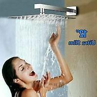 rainfall shower head 12 inch solid stainless