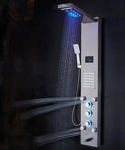 ELLO&ALLO LED Shower Head System & Steel Bathroom Tower System, Nickel
