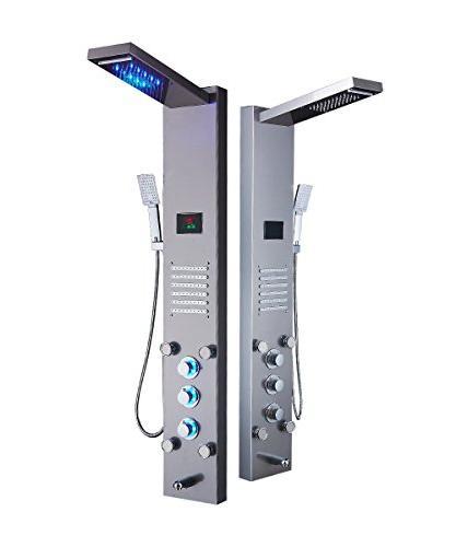 ELLO&ALLO Rainfall Shower Head Rain System Jets & Shower Steel Bathroom Panel Tower System,