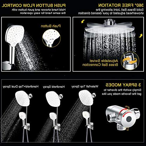 "Shower Head FEELSO Pressure Rainfall 9"" Adjustable Showerhead 3 Settings Handheld Spray Combo Push Button Control for"