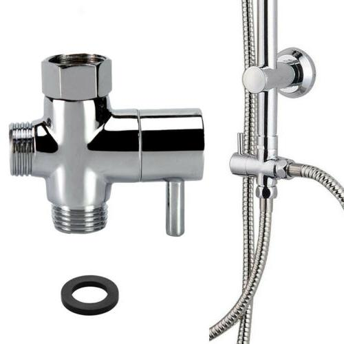 "G1/2"" 3 Way T-adapter Chrome Finish Shower Head Arm Mount Di"