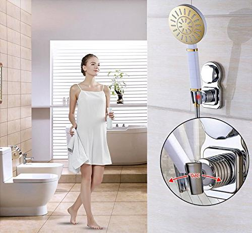 Shower Head Holder Suction Cup 360° Rotatable Height Holder Disc Bathroom - No