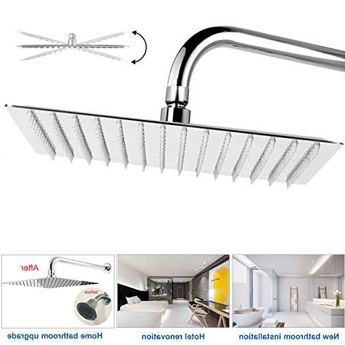 12 Shower Head With Extension Arm, Shower Heads ,High Pressure Large Stainless Steel ShowerHead With Waterfall Coverage Easy