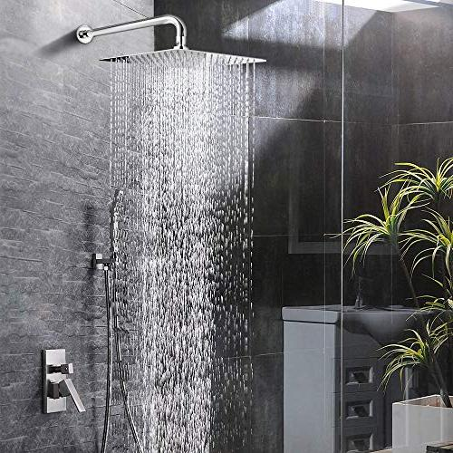 12 Head With 15 Inch Arm, Square Rain Shower Heads ,High Large Rainfall ShowerHead With Waterfall Body Easy To