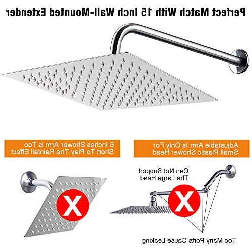 12 With 15 Arm, NearMoon Shower Heads ,High Large Steel Rainfall ShowerHead With Easy Install