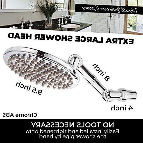 """Shower Head High Pressure 9.5"""" Self-Clean ABS"""