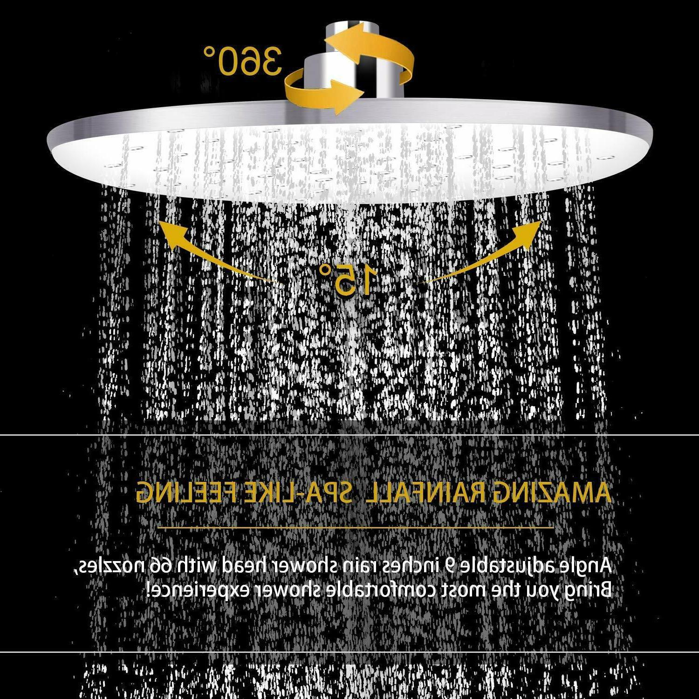 "Shower Head With Handheld Spray, Feelso Pressure 9"" Showerhead"