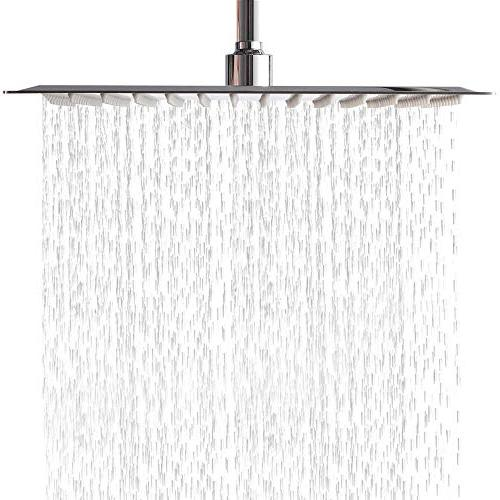 SARLAI Solid Ultra Thin Stainless Brushed Nickel 12 Inch Adjustable Full Body Coverage Silicone