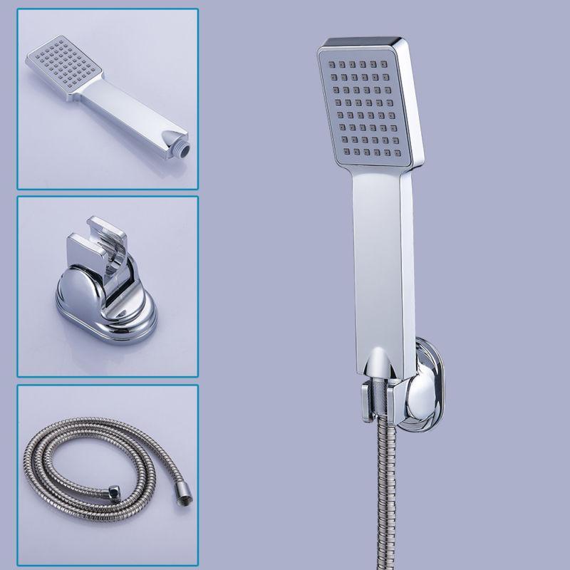 Square Chrome Shower Head and Hose Bracket Holder Bathroom H