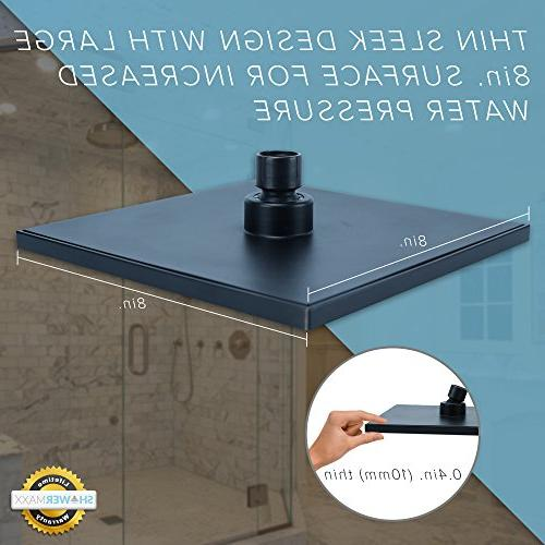 ShowerMaxx  Premium 8 Square Pressure Spa Removable Rainshower- Flow Nozzles–Oil Finish Showerhead