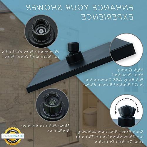 ShowerMaxx  Premium inch Square High Pressure Spa Shower Removable for Rainshower- Self Flow Bronze