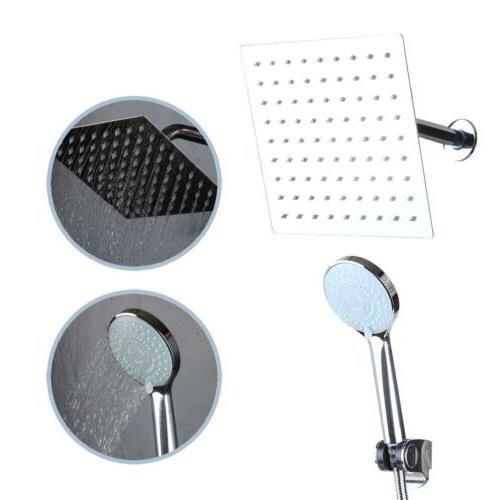 "US 8"" Shower Faucet Set Wall Mounted Rainfall Head Mixer Tap"
