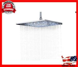 LED Colors 16 Inches Rainfall Shower Head Chrome Brass Over-
